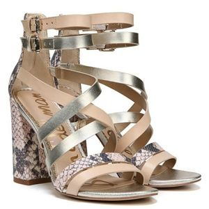 Sam Eldeman Yema Gold Python Print Block Sandals